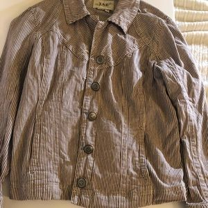 Brown and white striped lighter jacket